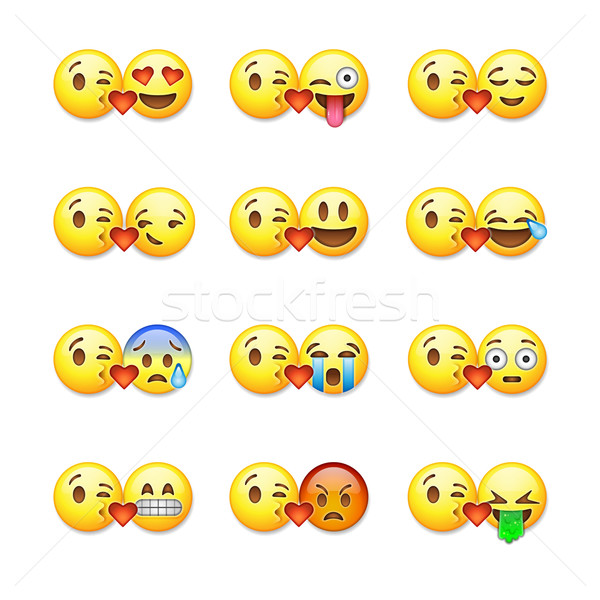 Set of emoticons, emoji isolated on white background, vector illustration. Stock photo © ikopylov
