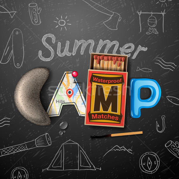 Summer Camp themed poster Stock photo © ikopylov