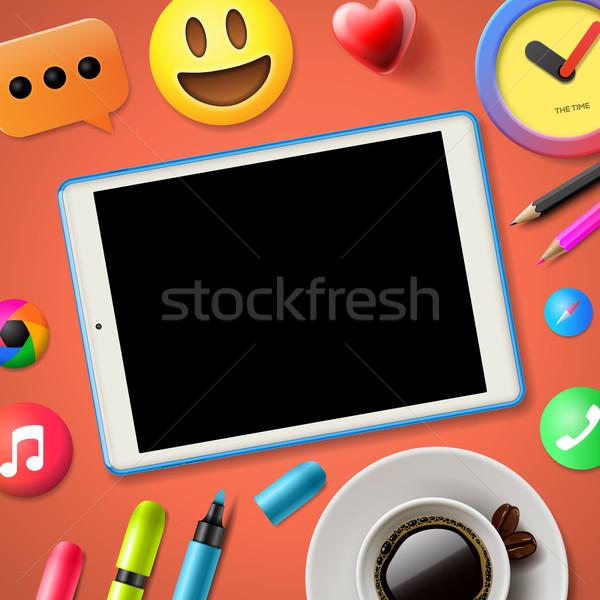 Közösségi média kapcsolódik blog kommunikáció tartalom rózsaszín Stock fotó © ikopylov