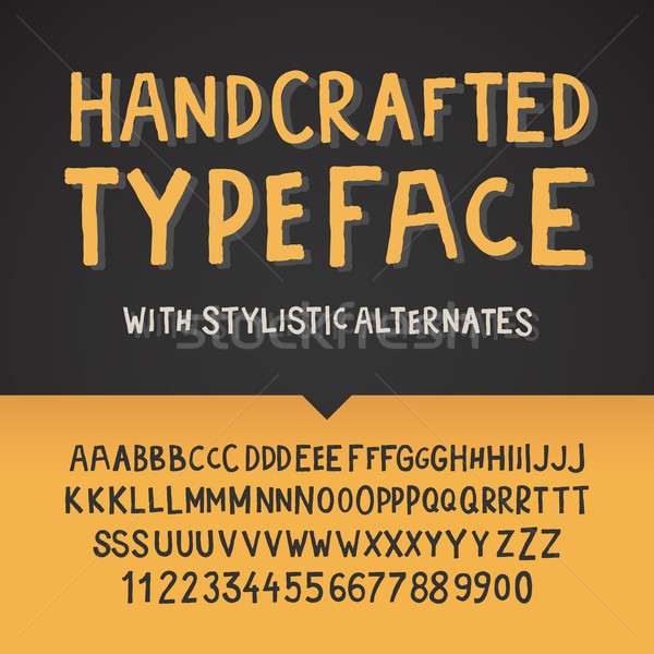 Handcrafted typeface, letters and numbers Stock photo © ikopylov