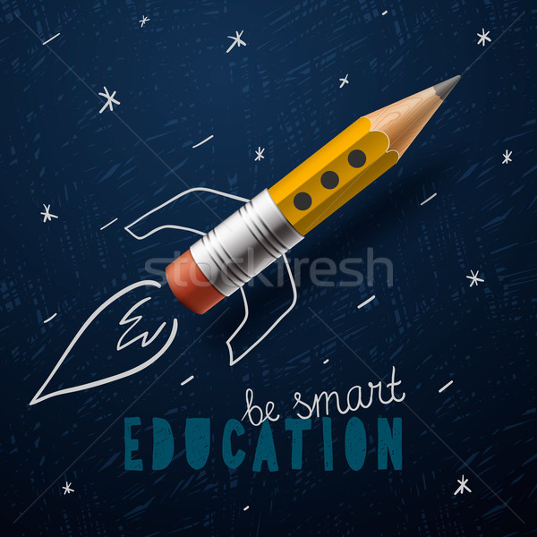 Smart education. Rocket ship launch with pencil - sketch on the blackboard Stock photo © ikopylov