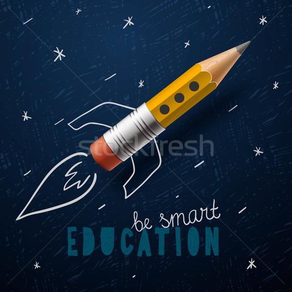 Smart education. Rocket ship launch with pencil - sketch on the blackboard Stock photo © ikopylov