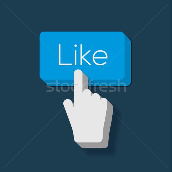 Like us Button with Hand Shaped Cursor Stock photo © ikopylov