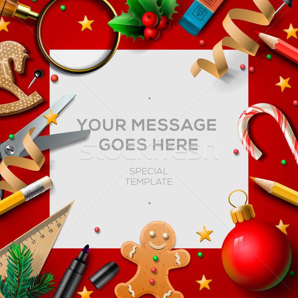 School holidays, Christmas break poster Stock photo © ikopylov
