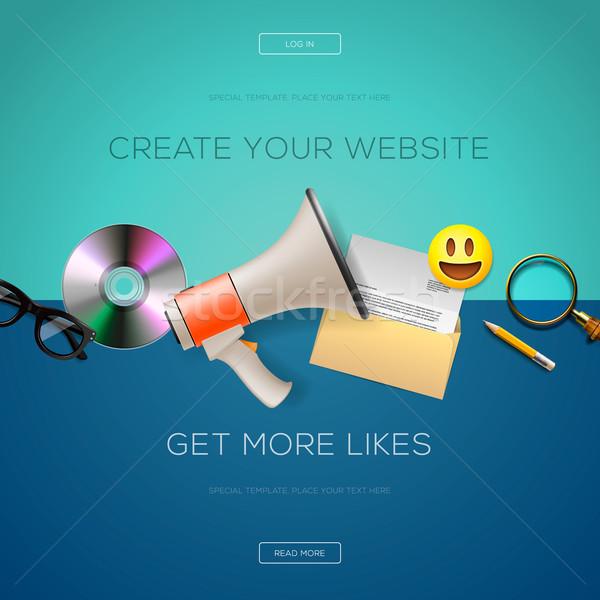Web design contenu site plus ordinateur Photo stock © ikopylov