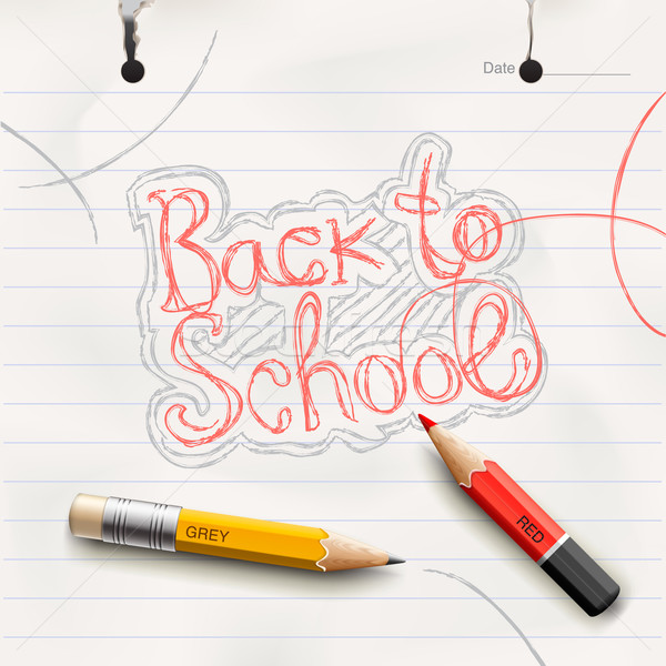 Back to school, handwritten with red pencil. Stock photo © ikopylov