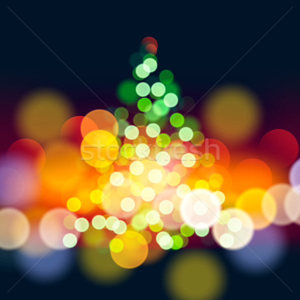 Stockfoto: Kerstboom · lichten · vector · eps10 · illustratie · boom