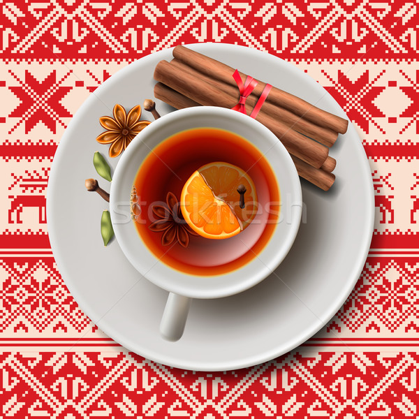 Рождества чай специи ароматический вино Кубок Сток-фото © ikopylov