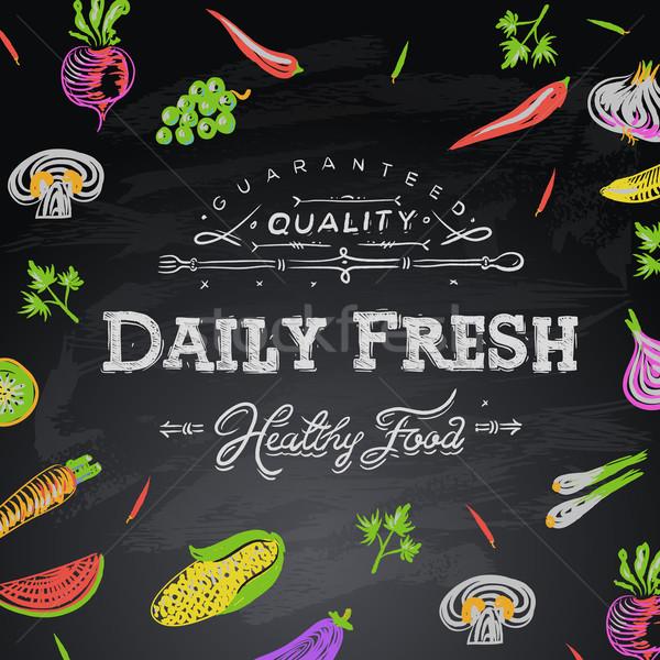 Lavagna tutti i giorni alimenti freschi alimentare mano foglia Foto d'archivio © ikopylov