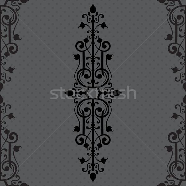 Vintage орнамент черный кадр бумаги свадьба Сток-фото © iktash