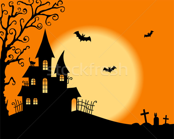 Halloween vecteur carte ciel maison résumé Photo stock © iktash