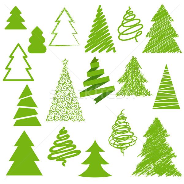 набор Рождества деревья дерево дизайна звездой Сток-фото © iktash