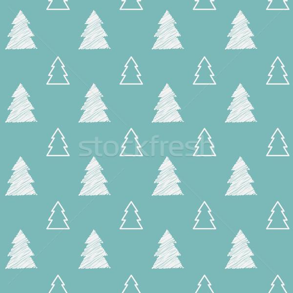 бесшовный рождественская елка шаблон дерево лес дизайна Сток-фото © iktash