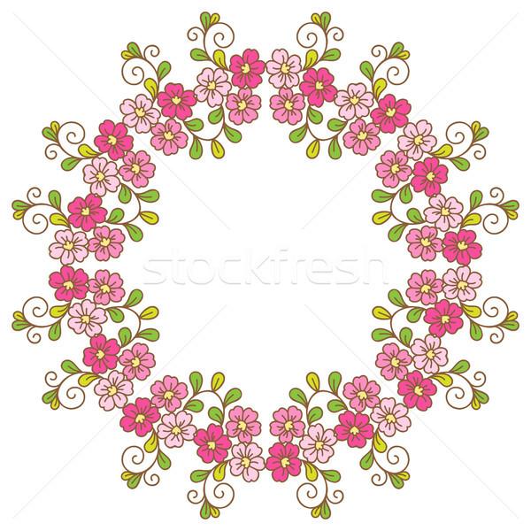 карт цветочный шаблон венок Cherry Blossom цветок Сток-фото © iktash
