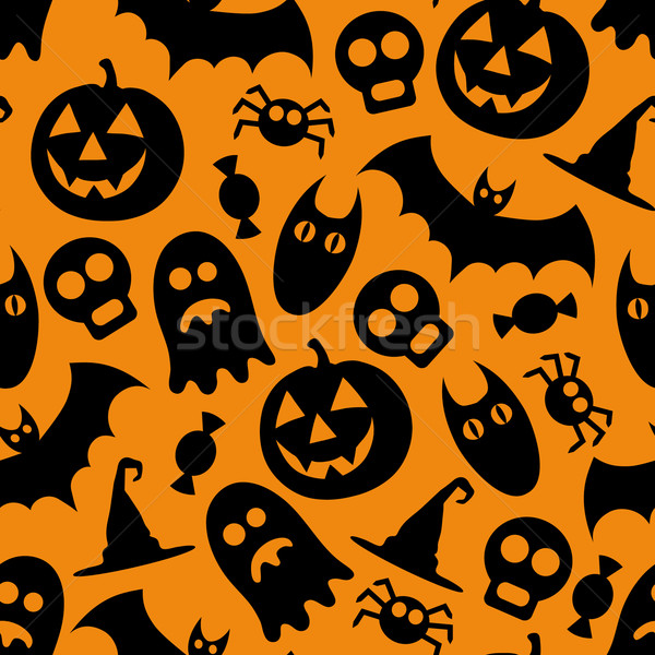 Foto stock: Halloween · padrão · papel · projeto · crânio · diversão