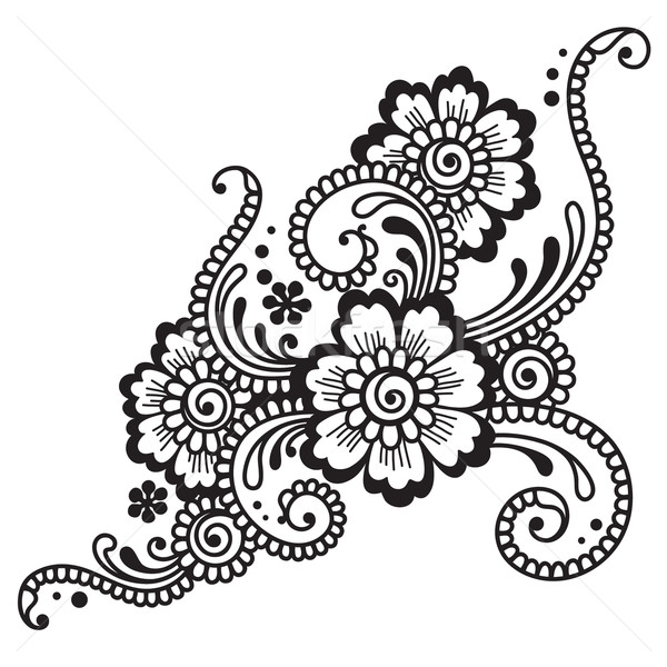 цветок орнамент природы дизайна фон силуэта Сток-фото © iktash