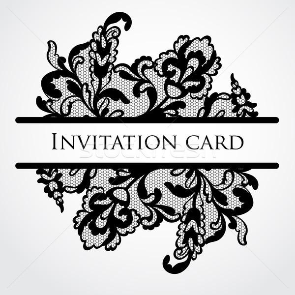 Wektora koronki karty charakter ramki piękna Zdjęcia stock © iktash