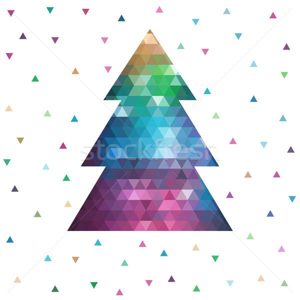 геометрический рождественская елка дерево аннотация искусства зима Сток-фото © iktash