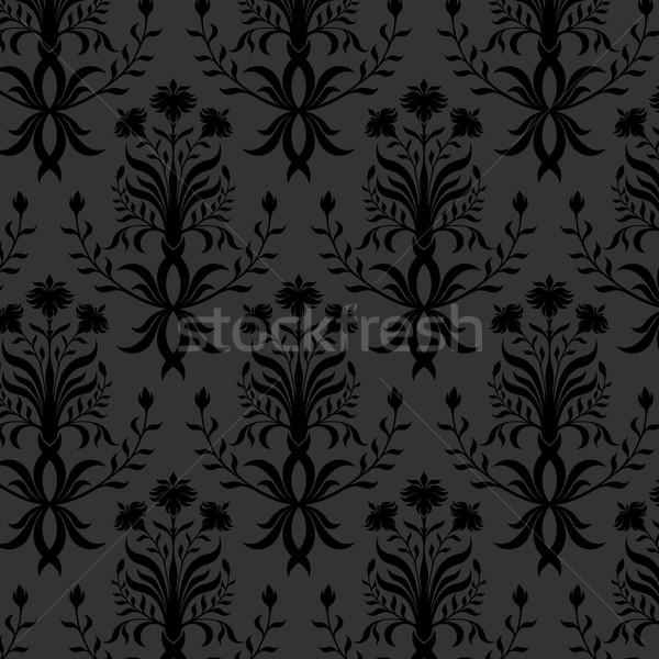бесшовный черный цветочный обои цветок текстуры Сток-фото © iktash