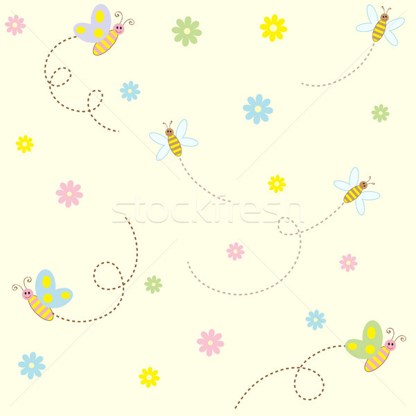 Seamless pattern with cute insects and flowers Stock photo © iktash