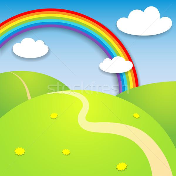 красивой лет пейзаж радуга цветок бумаги Сток-фото © iktash