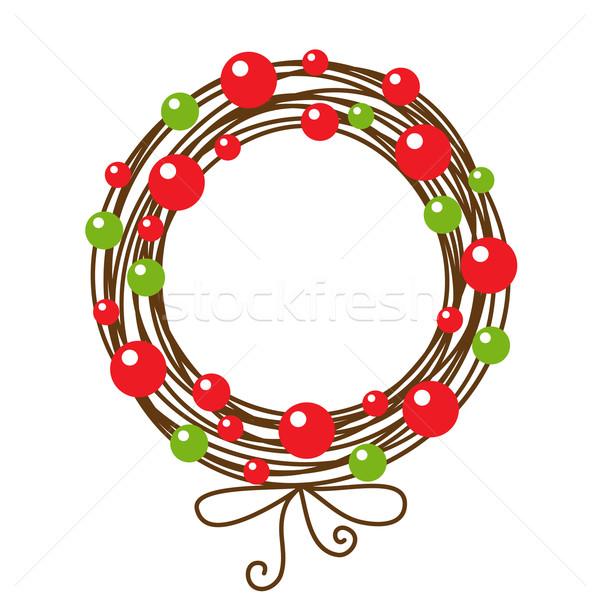 аннотация Рождества венок дизайна фон зеленый Сток-фото © iktash