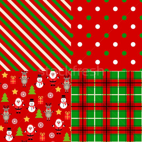 набор Рождества структур бумаги дерево вечеринка Сток-фото © iktash