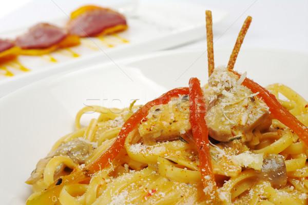 Fettuccine with Chicken, Mushrooms, Pepper Stock photo © ildi