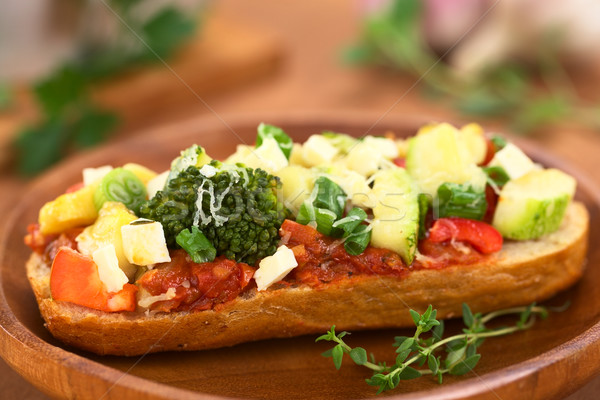 Baked Vegetarian Open Sandwich Stock photo © ildi