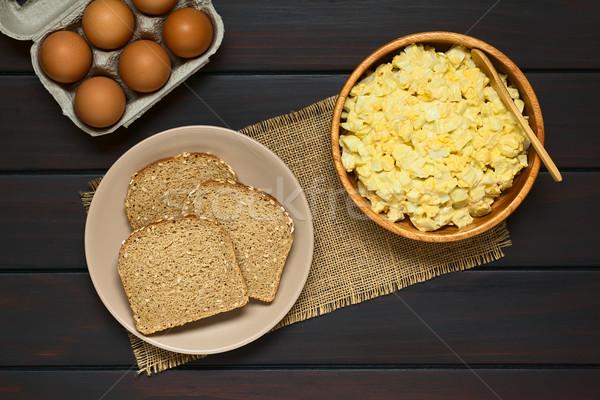 Tojás saláta teljes kiőrlésű kenyér friss házi készítésű Stock fotó © ildi