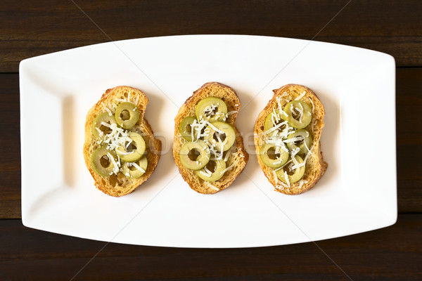 Crostini with Green Olives and Cheese Stock photo © ildi