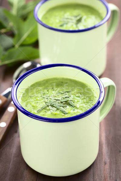 Fresh Green Pea and Mint Soup Stock photo © ildi