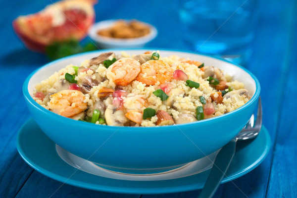 Couscous with Shrimp, Mushroom, Almond and Pomegranate Stock photo © ildi