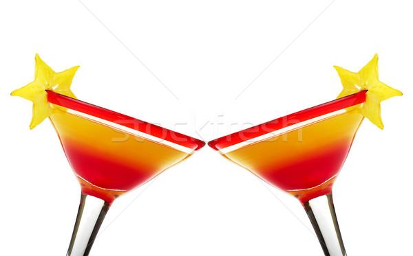 Pirít tequila napfelkelte koktél üveg szelet Stock fotó © ildi