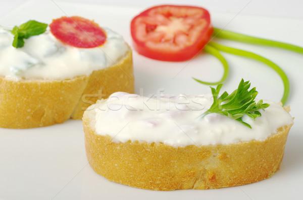 Baguette Bread with Cream Cheese (selective focus) Stock photo © ildi