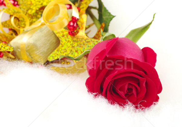 Red Rose and Golden Present Stock photo © ildi