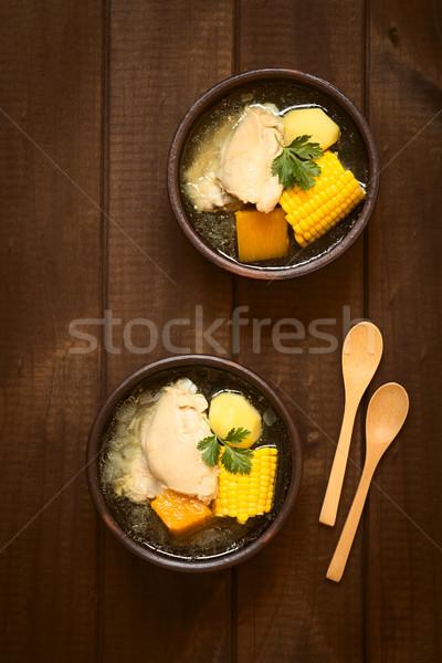Traditional Chilean Cazuela Soup Stock photo © ildi