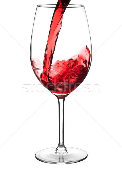 Rode wijn wijnglas geïsoleerd witte wijn Stockfoto © ildi
