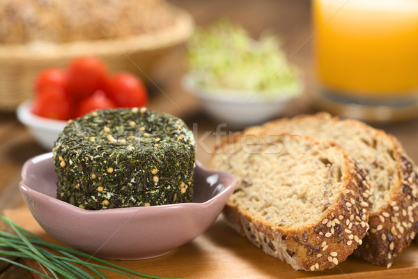 Goat Cheese with Herbs and Wholegrain Bread Stock photo © ildi