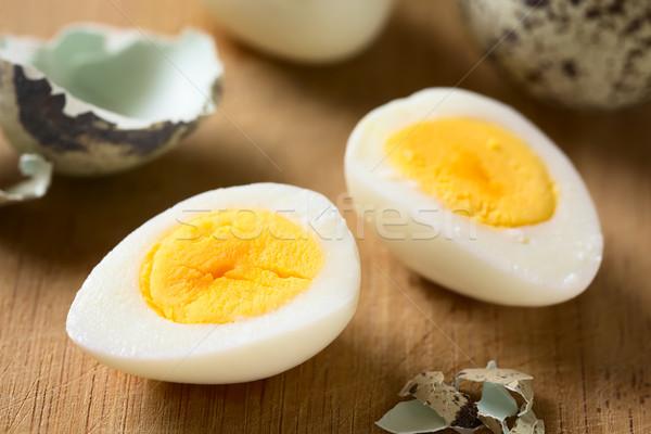 Hard Boiled Quail Egg Halves Stock photo © ildi