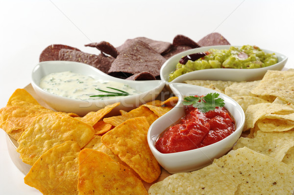Tacos chips tres diferente crema queso Foto stock © ildi