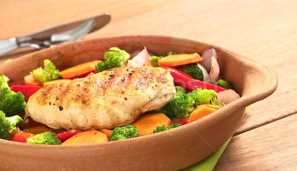 Pechuga de pollo hortalizas mama pimienta superior Foto stock © ildi
