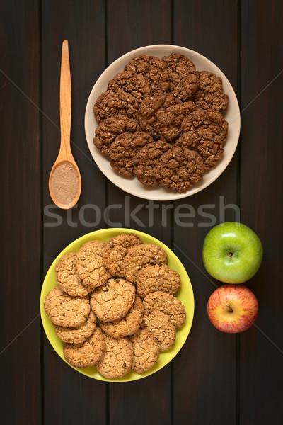 Stockfoto: Chocolade · appel · cookies · shot · platen