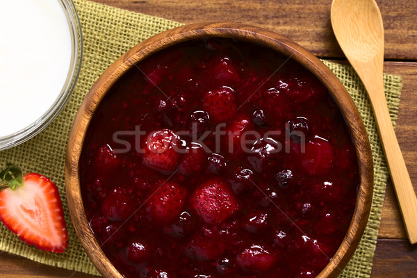 German Rote Gruetze Red Berry Dessert Stock photo © ildi