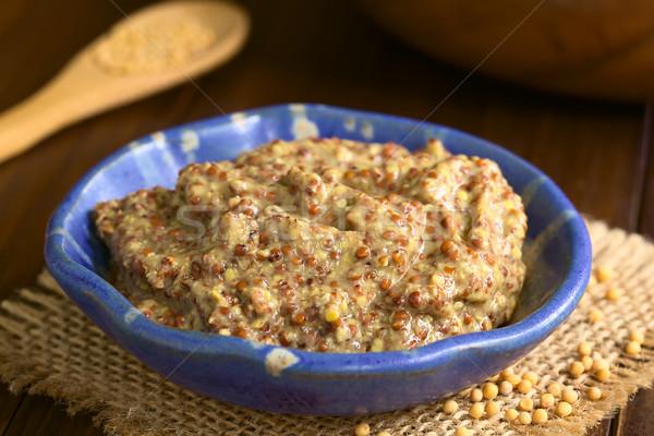 Egész gabona mustár kicsi tál citromsárga Stock fotó © ildi