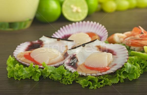 Scallops on Lettuce Stock photo © ildi