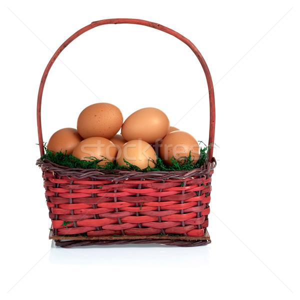 Uova muschio basket rosa bianco Foto d'archivio © ildi