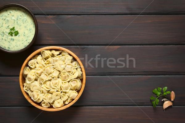 Cocido tortellini relleno queso tazón Foto stock © ildi