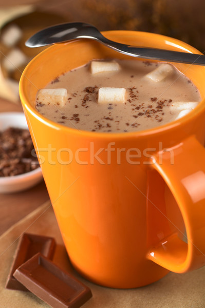 Forró csokoládé narancs csésze teáskanál peremszegély csokoládé Stock fotó © ildi