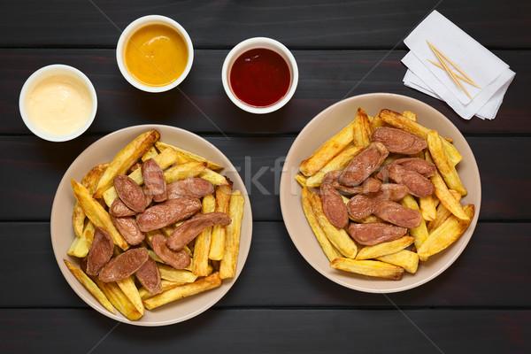 Salchipapas (Fries with Sausage) South American Fast Food Stock photo © ildi
